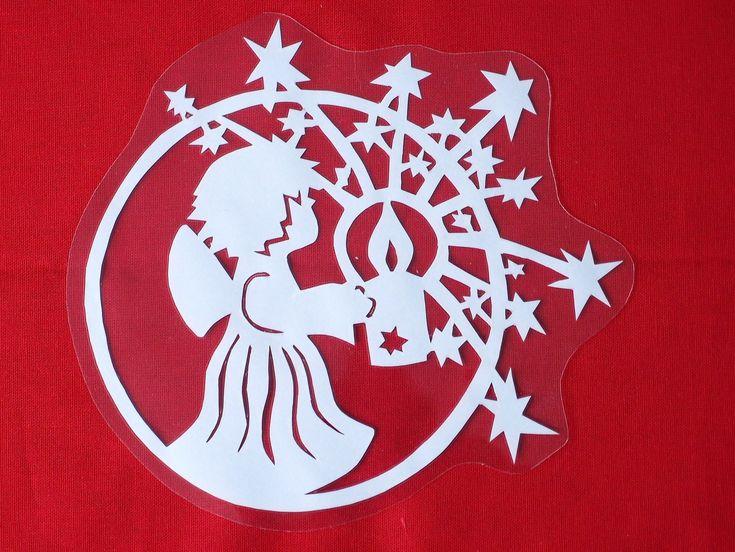 Vánoční vystřihovánka do okna - Anděl se svíčkou / Zboží prodejce ...