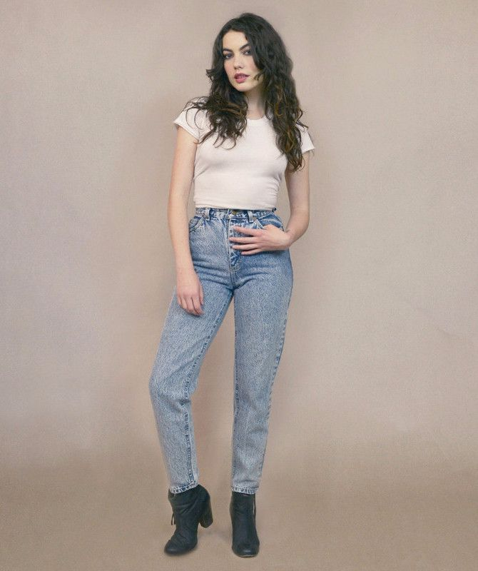 Acid Wash Jeans High Waisted Mom Jeans 80s Lee