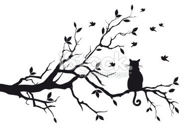 Chat, Arbre, Branche, Silhouette, Oiseau Illustration vectorielle libre de droits