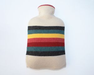 Image of HOT WATER BOTTLE - OATMEAL/COLOUR STRIPE MADE IN SCOTLAND http://www.lucydonnell.co.uk/products