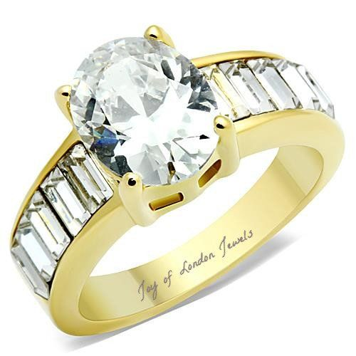 A Perfect 14K Yellow Gold 2.4CT Oval Cut Russian Lab Diamond Ring