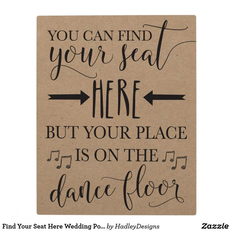 Find Your Seat Here Wedding Poster Sign 8x10