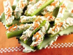 Stuffed Celery Sticks: Diabetes Forecast Magazine.  Very Tasty snack.  Add walnuts and coconut for a Waldorf taste.