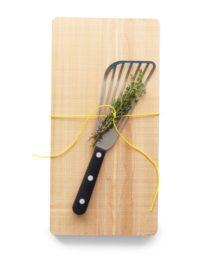 """""""It seems as though there's a lot of grilled plank salmon in the summer. Any host(ess) would be grateful for a few extra boards, a sprig of thyme, and a quality fish spatula."""" -- Pilar Guzman, editor in chief    Cedar grilling planks, $15 for 4, williams-sonoma.com. Fish turner, by Martha Stewart Collection, $15, macys.com."""