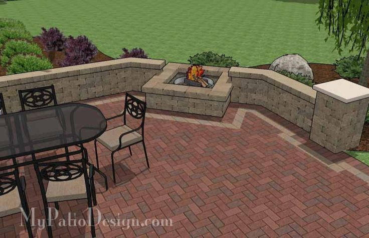 400 Sq Ft Courtyard Brick Patio Design With Fire Pit