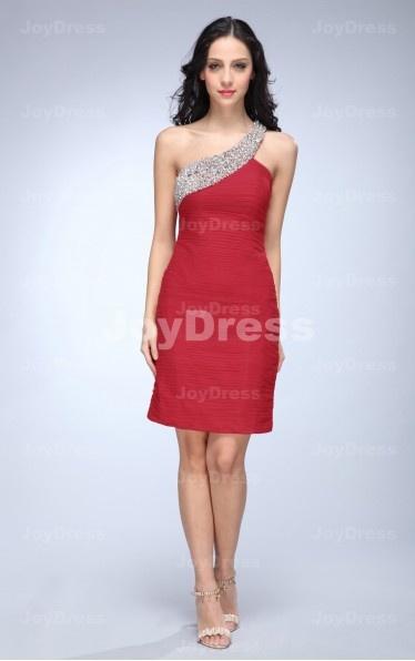 shop red fancy dress at www.joydress.co.uk,Ruched Sheath One Shoulder Short Dress
