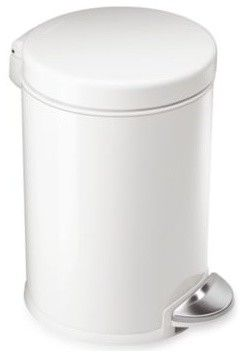 simplehuman Round 1 1/5 Gallon Step Trash Can in White - contemporary - kitchen trash cans - Bed Bath & Beyond