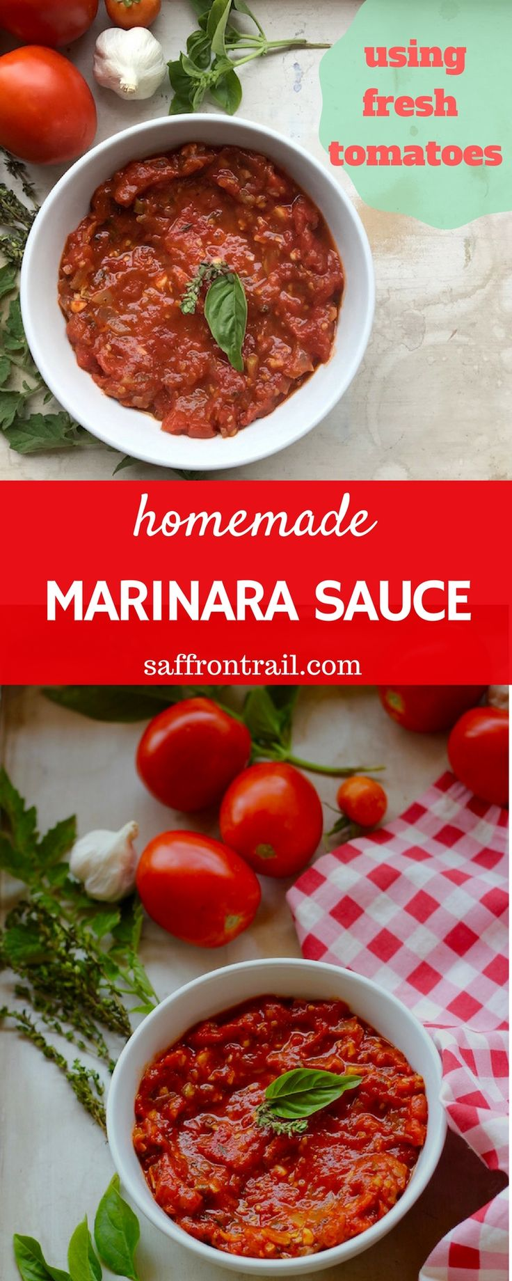 Homemade marinara sauce from scratch using fresh tomatoes - make a bottle or two and weeknight pasta meal is sorted!