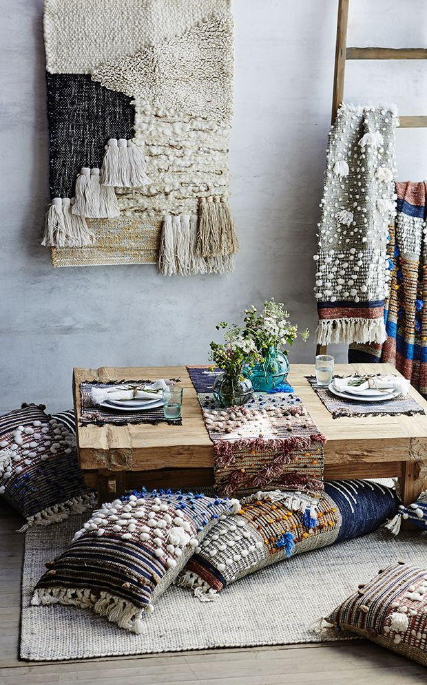 All Roads X Anthropologie You may remember a few years back I shared a studio visit with my homegirl Janelle from All Roads. Well today, I'm thrilled to share her new line of home accessories that she designed for Anthro. (you go girl!!) Her signature weaving style has been reinterpreted into a cozy, tactile collection...