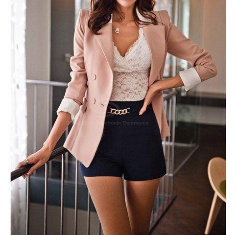 Collar Long Sleeves Color Block Sweet Style Polyester Blazer