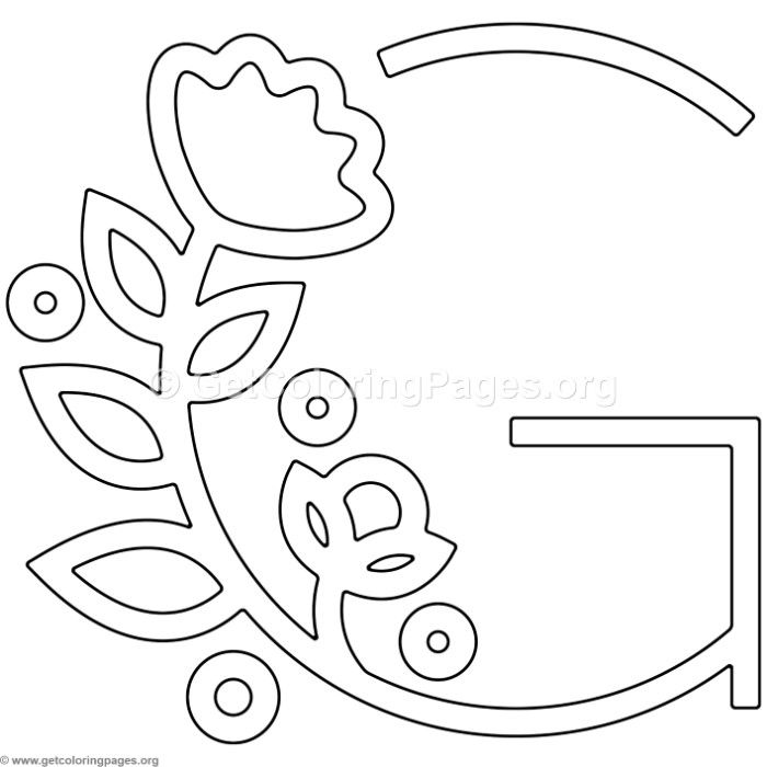 Free Instant Download Modern Flower Alphabet Letter G Coloring Pages Coloring Coloringbook Colori Hand Embroidery Letters Lettering Alphabet Flower Alphabet