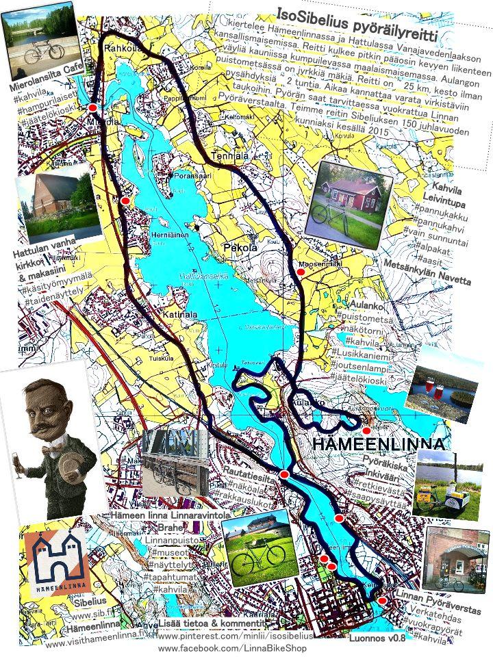 IsoSibelius pyöräilyreitti Hämeenlinnan ja Hattulan kauniissa Vanajavedenlaakson kansallismaisemassa
