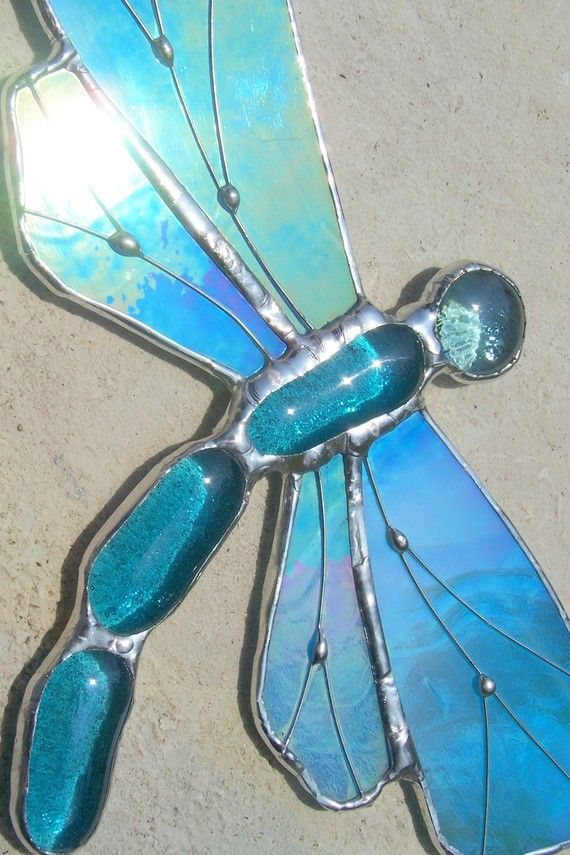Iridescent Blue Dragonfly Stained Glass Suncatcher, $25