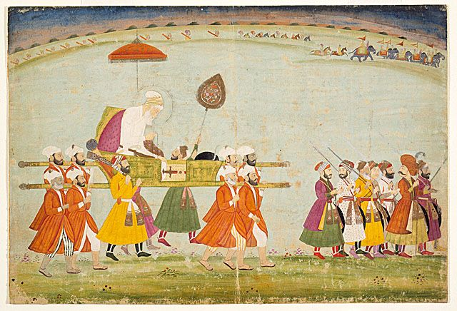 emperor aurangzeb carried on a palanquin 1775