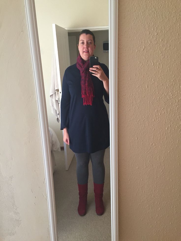 Navy with red and navy scarf