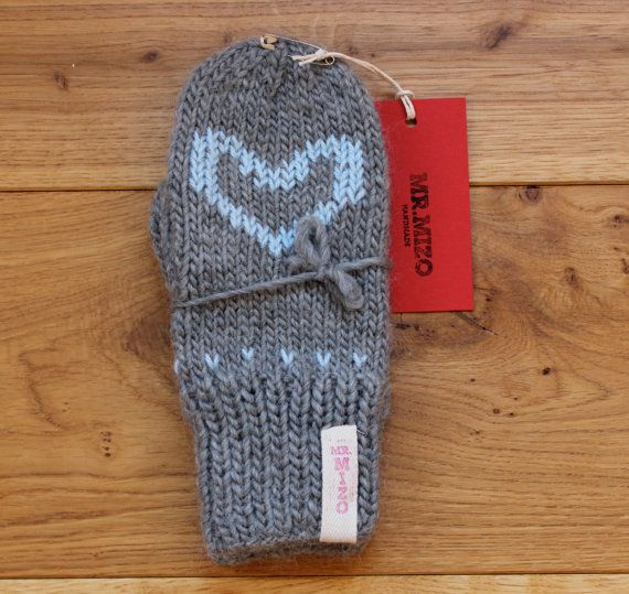 Unique handmade mittens from soft roving British yarn    Hand knitted grey mittens with light blue heart. Mittens are made of the mixture of merino wool