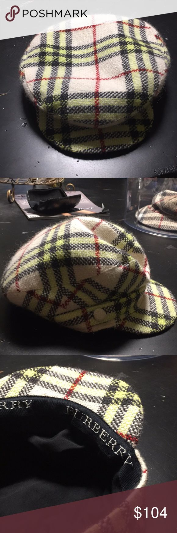 Burberry cap preloved great condition Plaid cap , wool, women's cap inside rim measures ~32 inches Burberry Accessories Hats
