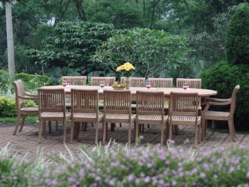 """Grade-A Teak Wood luxurious 11 pc Dining Set : Large 117"""" Double Extension Oval Table, 8 Armless and 2 Arm / Captain Chairs [Model:gve]**Click to see all sizes.. by TeakStation. $2079.99. 11pc Set includes: 117"""" Double Extension Oval Table, 2 Arm & 8 Armless Chairs. You can lengthen the table with minimal effort by simply opening the butterfly leaf extensions.. ADD SUNBRELLA FABRIC CUSHIONS BY SEARCHING """"Teakstation Dining Cushion"""" ON AMAZON, CUSTOM MADE FOR THESE STYLE CHAIRS..."""
