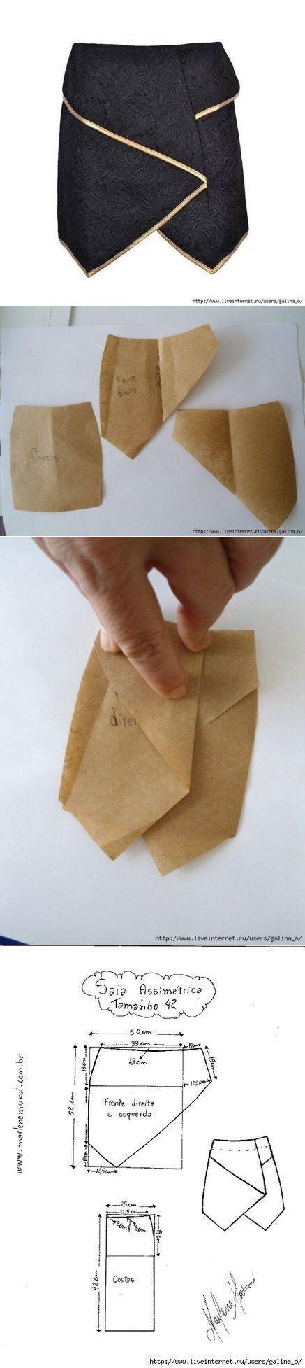 Выкройка необычной юбки с запахом, 42-54