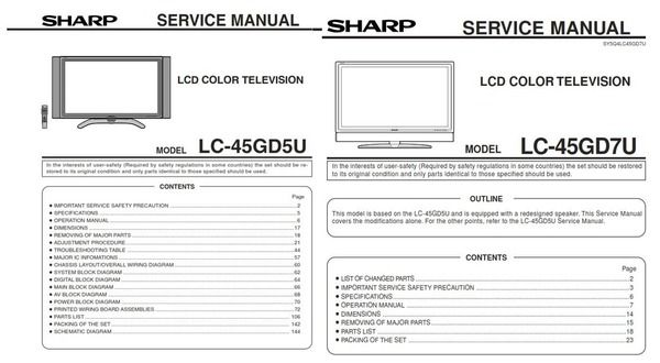 Sharp Lc 45gd7u 45gd5u Lcd Tv Service Manual And Repair Guide Repair Guide Tv Services Repair
