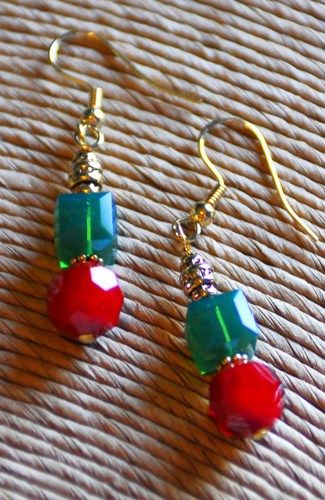 Red, Green, and Gold Swaroski Crystal and Czech Glass Gold Earrings