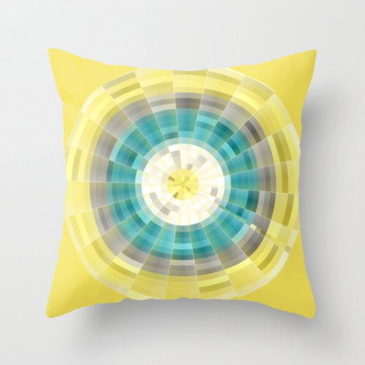 £24,16 Geometric Pillow Cover in Teal Yellow Grey White Modern Home Decor Living room bedroom accessories Cushion