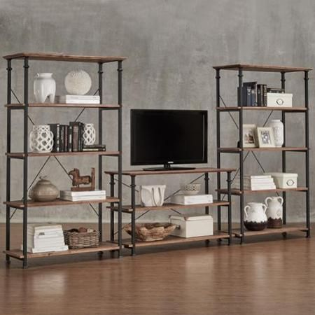 TRIBECCA HOME Myra Vintage Industrial Modern Rustic 3-piece TV Stand and 40-inch Bookcase Set - Walmart.com