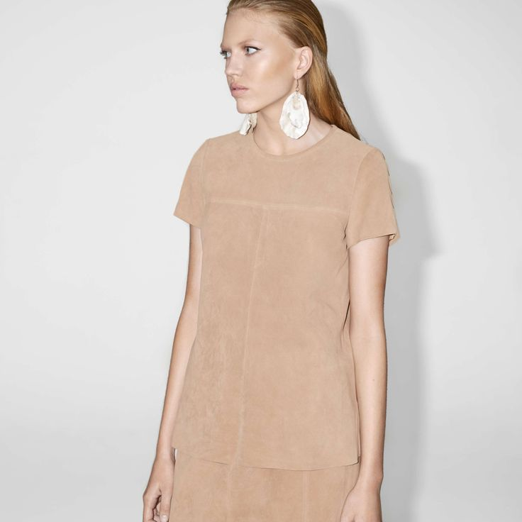FWSS No No No is a suede T-shirt with slits in the side seams and a raw-edge detail at the hem.  http://fallwinterspringsummer.com/