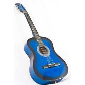 New Blue Acoustic Guitar W/ Accessories Combo Kit Beginners, (blue guitar, acoustic guitar, beginner kits, blue, childs guitar)