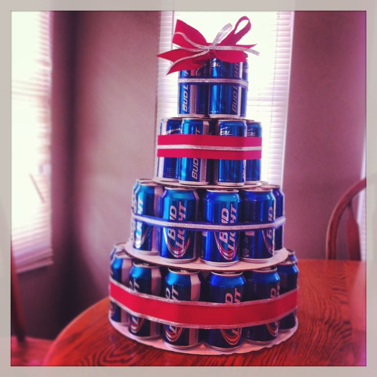 Birthday Cake Made With Beer Cans