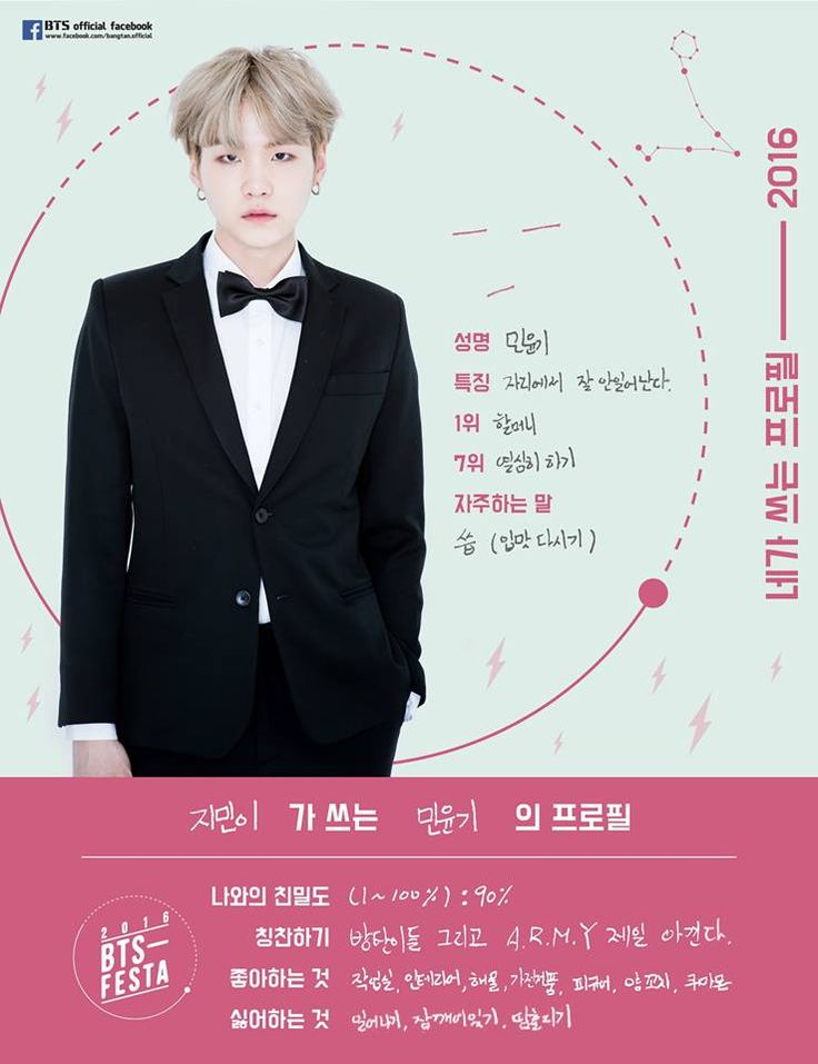 BTS | Min Yoon Gi | Suga | 2016 BTS Festa