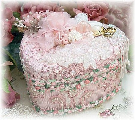Pink Beaded Decorative Heart Trinket Keepsake Box via roses-and-teacups.com