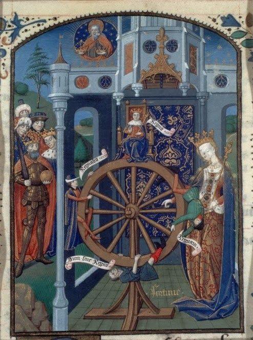 Rueda de la Fortuna. San Agustín, La ciudad de Dios (Francia, c.1450-1475) BnF MS Français 27, fol.154.