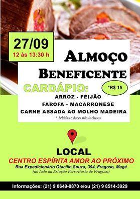Centro Espírita Amor ao Próximo Convida para o seu Almoço Beneficente - Magé - RJ - http://www.agendaespiritabrasil.com.br/2015/09/23/centro-espirita-amor-ao-proximo-convida-para-o-seu-almoco-beneficente-mage-rj/