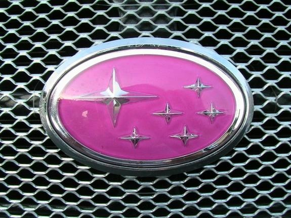 subaru impreza pink badge