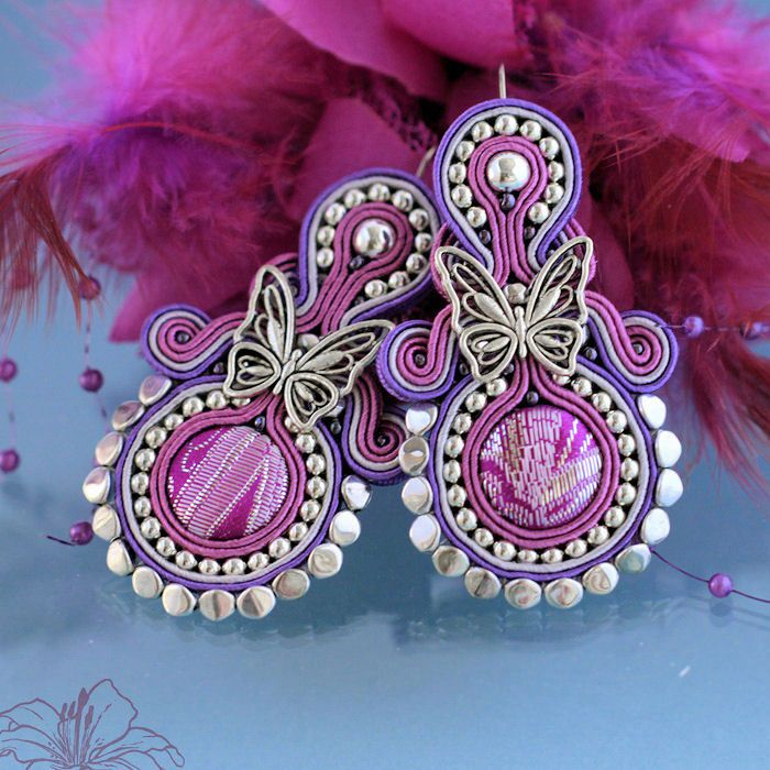 Soutache earrings Papillon | author: Zuzana Hampelova Valesova (Lillian Bann) | www.z-art-eshop.cz | http://www.facebook.com/pages/Z-ART/539656212733510