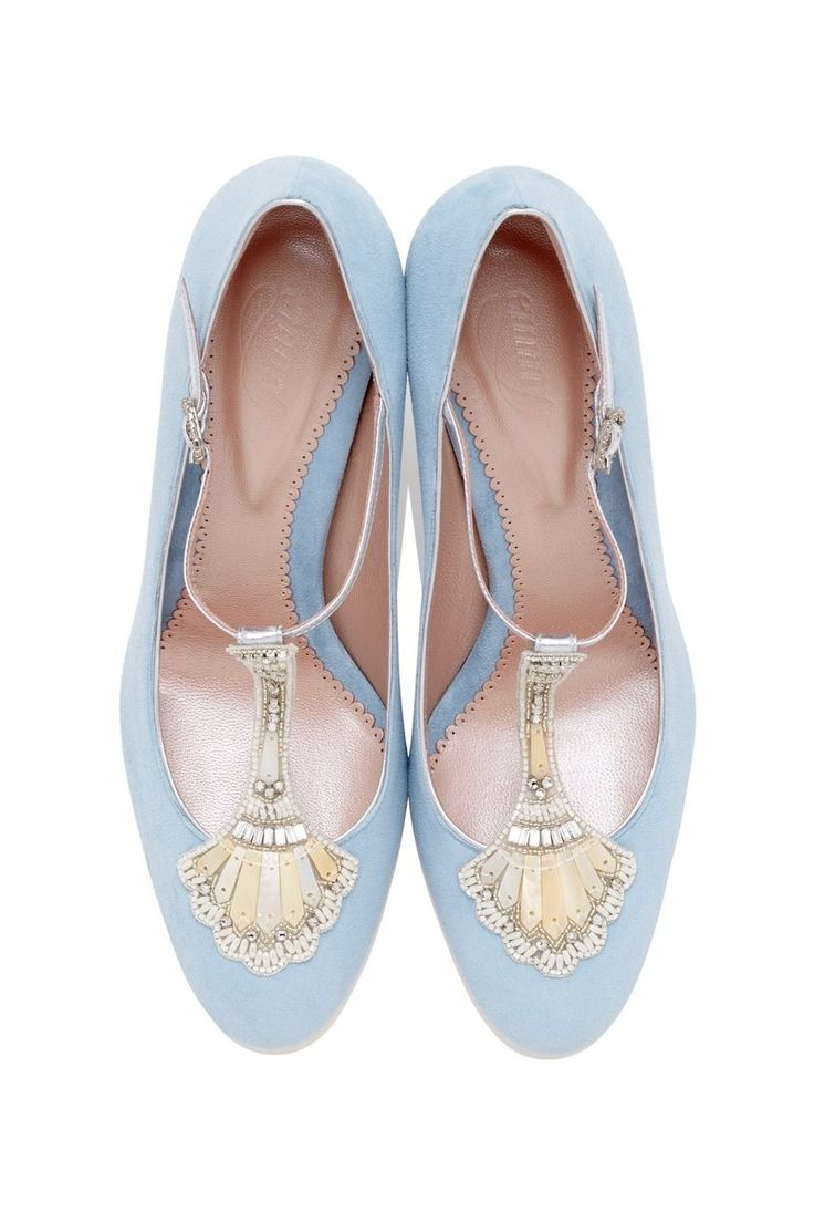 Powder blue bridal shoes