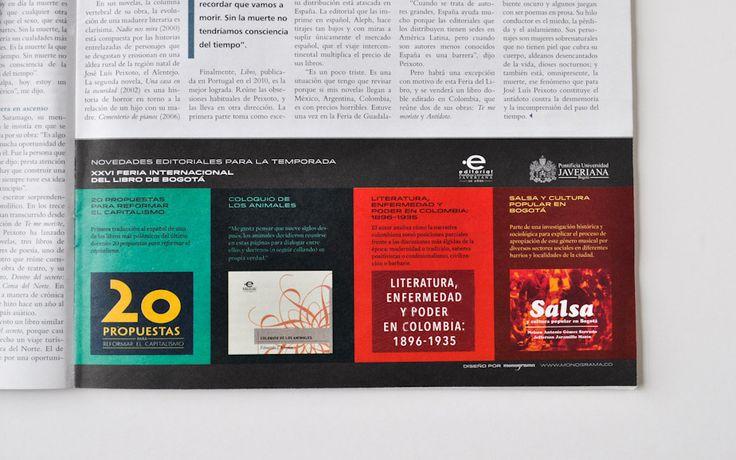 Detalle de la pauta para la Editorial Javeriana en la Revista Arcadia Editorial Javeriana's ad in Revista Arcadia #brochure #brochuredesign #editorialjaveriana