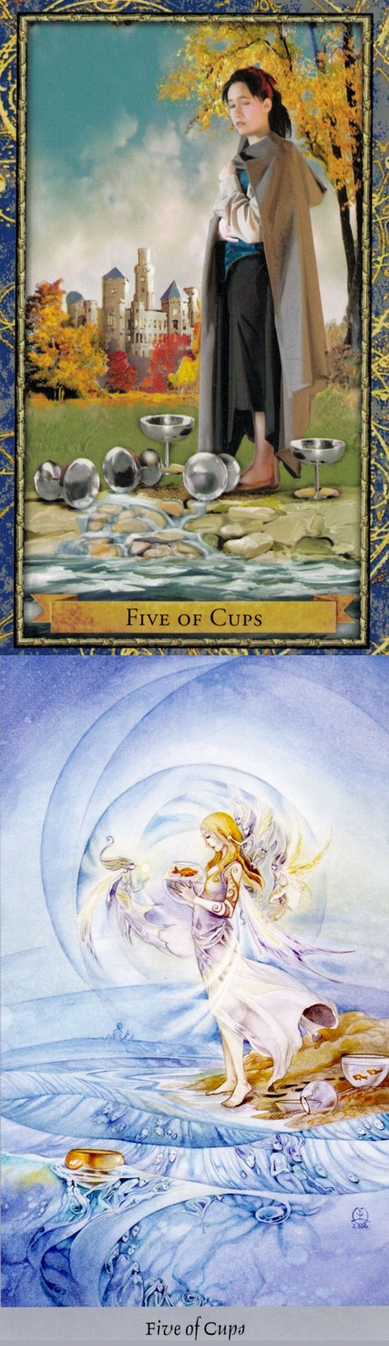Five of Cups: loss and acceptance (reverse). Wizardtarot Tarot deck and Shadowscape Tarot deck: daily tarot reading spread, your free tarot reading and read my cards for free. Best 2018 goth girl and guessing games. #halloweenmakeup #justice #magick