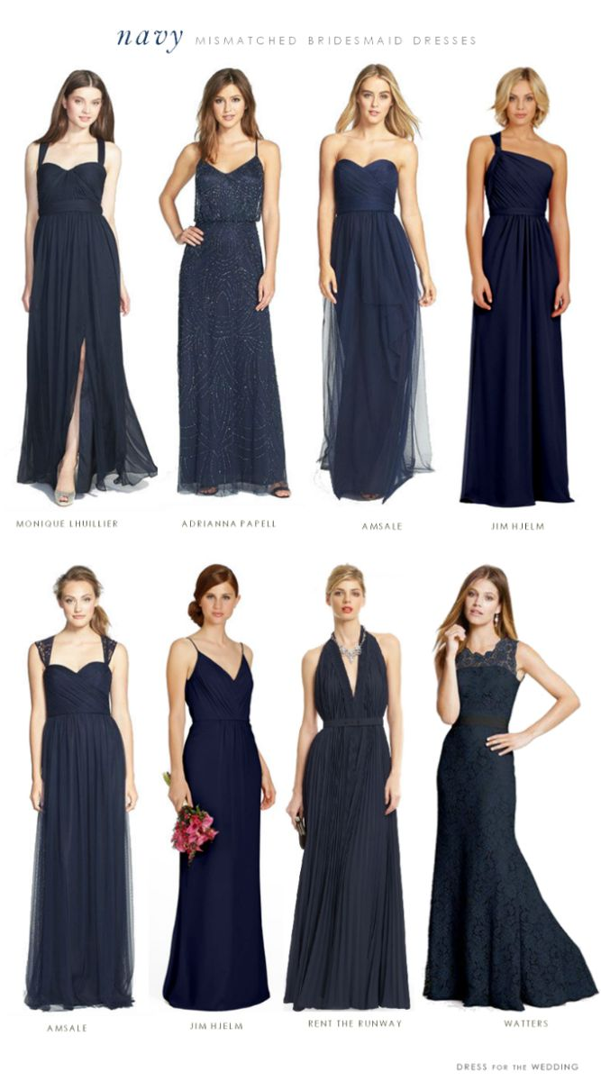 Mismatched Bridesmaid Dresses In Navy Blue