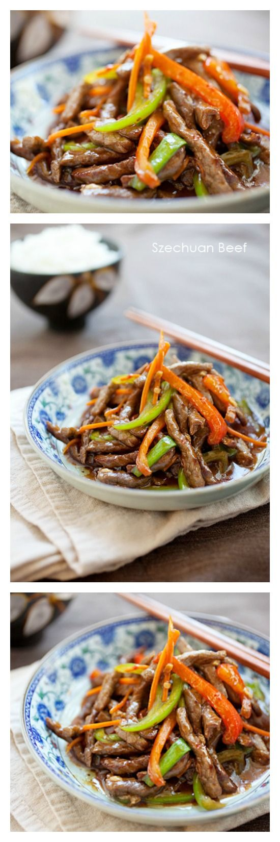 Szechuan beef. Savory with a slight heat. Yummy restaurant takeout dish that you can make at home with this super easy recipe. http://rasamalaysia.com