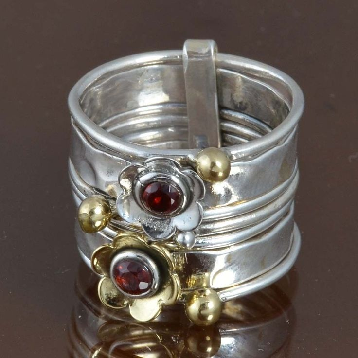 925 SOLID STERLING SILVER NEW STYLE Garnet EXCLUSIVE RING 8.04g R9511 SZ-7 #Handmade #Ring