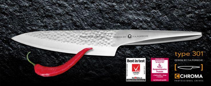 Ein neues Highlight mit Bestseller Qualitäten. CHROMA type 301 Kochmesser P-18 HM mit Hammerschlag Klinge, 20 cm. Der P-18 wurde von den CHROMA Machern mit einem perfekten Hammerschlag Finish versehen. Angenehmer Nebeneffekt, neben der tollen Optik ist die spürbare Anti-Haft Wirkung im Vergleich zu herkömmlichen Messer. VK 119,00 €. Lieferung November.