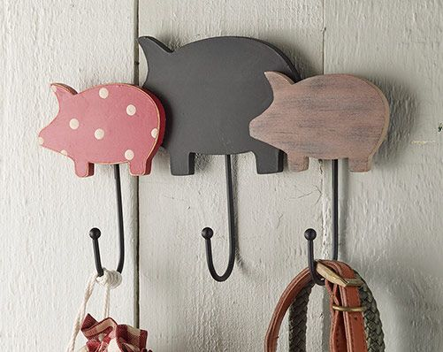 Pig Hooks - £6.00 Wall mounted pig design hooks, complete with hanging fixtures on the back. Comment or PM me to order.