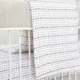 Adorable NEW Gender neutral crib bedding for your surprise baby! We love the soft tones and simple geometric pattern!