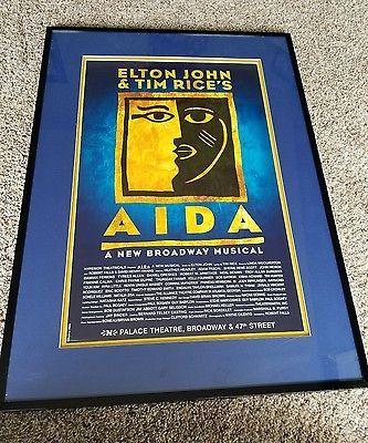 Framed *AIDA*Broadway Play, Window Card Poster Elton John Tim Rice musical