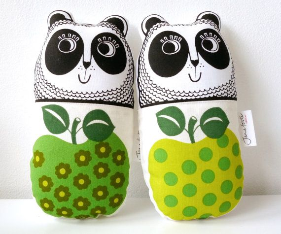 New Scandi Apple Vintage 70s Fabric Toy Panda by Jane Foster