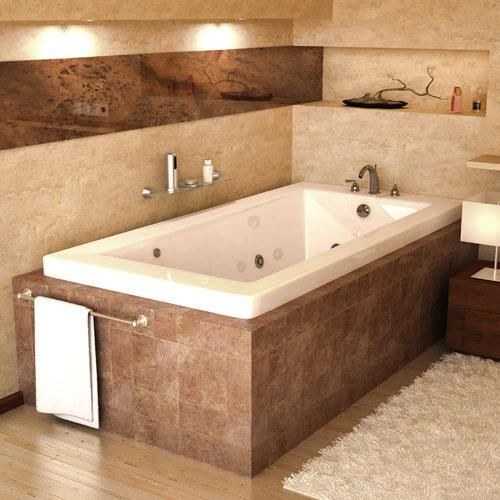 The shape of this Venetian whirlpool tub is rectangular in shape with minimalist-inspired lines and comfortable, inclined backrest. This bathtub has gracious curves, and is made of reinforced acrylic shell with a thick layer of fiberglass resin.