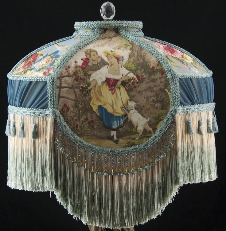 Victorian Lamp Shade Fragonard Blue Fabric Silk Beads