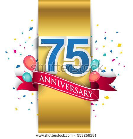 75th anniversary logo with gold label and red ribbon, balloons, confetti. seventy five Years birthday Celebration Design for party, and invitation card